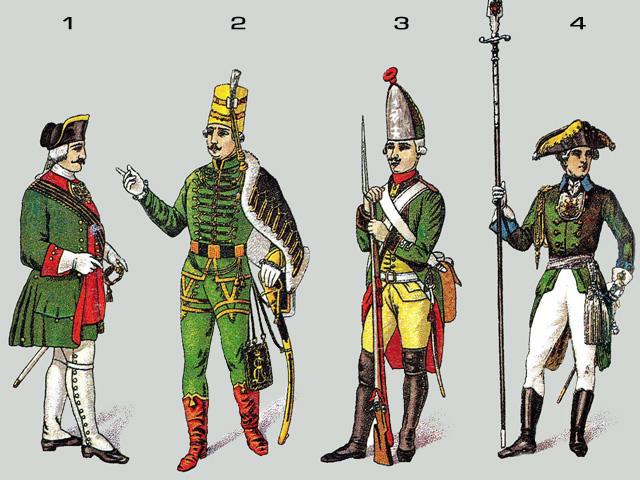 Военная форма русской армии xviii